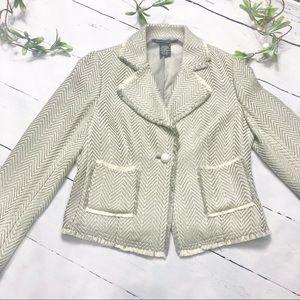 Pierre Cardin Grey and Cream Tweed Jacket/Blazer